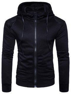 Hooded PU Leather Panel Zip Up Hoodie - Black M