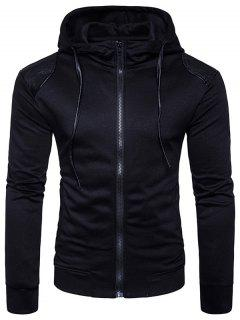 Hooded PU Leather Panel Zip Up Hoodie - Black S