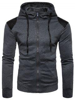 Hooded PU Leather Panel Zip Up Hoodie - Deep Gray M