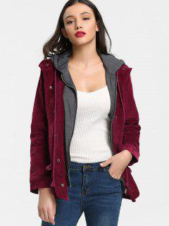 Hooded Corduroy Jacket - Deep Red L