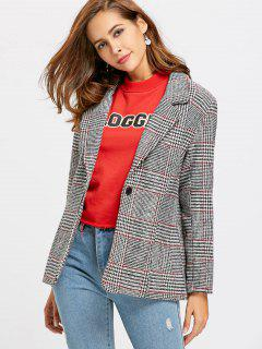 One Buttoned Plaid Blazer - Checked M