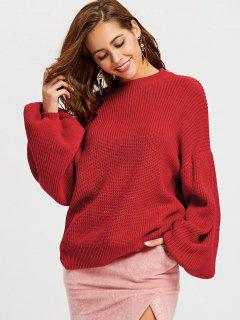 Crew Neck Lantern Sleeve Oversized Sweater - Red L