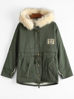 Patchwork Faux Fur Trim Hooded Shearling Coat - Army Green