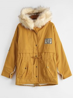 Patchwork Faux Fur Trim Hooded Shearling Coat - Ginger