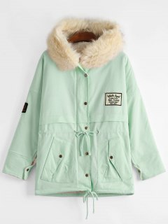 Patchwork Faux Fur Trim Hooded Shearling Coat - Light Green