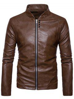Stand Collar Embellished Faux Leather Zip Up Jacket - Brown S