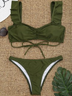 Ruffles Ruched High Cut Thong Bikini - Army Green L