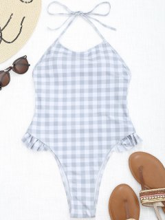 Ruffles Plaid High Cut Swimwear - Grey And White S