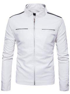 Stand Collar Edging Zip Up Faux Leather Jacket - White Xl