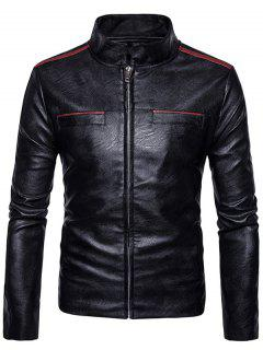 Stand Collar Edging Zip Up Faux Leather Jacket - Black Xl
