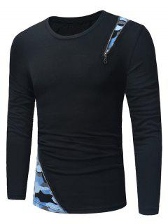 Long Sleeve Camouflage Zipper Panel T-shirt - Blue And Black 2xl