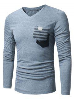 V Neck Pockets Embellished Long Sleeve T-shirt - Light Gray L