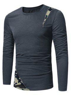 Long Sleeve Camouflage Zipper Panel T-shirt - Deep Gray 2xl