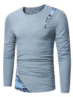 Long Sleeve Camouflage Zipper Panel T-shirt - Light Gray M