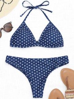 Pentagram Star Print Halter Bikini Set - Purplish Blue S