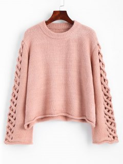 Oversized Braided Sleeve Pullover Sweater - Pink