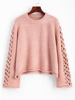 Suéter De Jersey Con Manga Trenzada Extragrande - Rosa