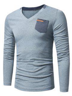 Camiseta Con Manga Larga Adornada Con Bolsillo En El Cuello En V - Gris Claro L