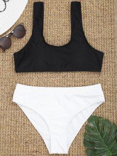 Scoop Zweifarbiger High Cut Bikini - Weiß & Schwarz S