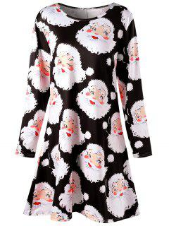 Plus Size Santa Claus Print Mini Swing Dress - Black 2xl