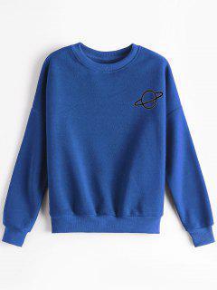 Sweat-shirt à Motif Planète à Épaules Tombantes - Bleu