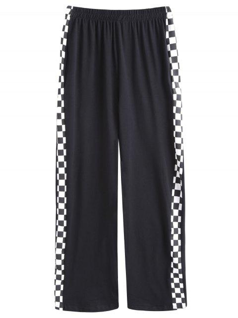 shops Square Contrasting Straight Pants - BLACK ONE SIZE Mobile