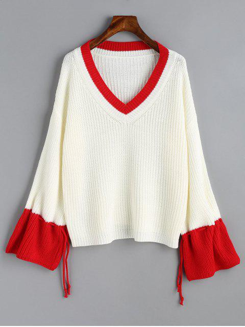 chic Two Tone Drawstring Sleeve V Neck Sweater - WHITE ONE SIZE Mobile