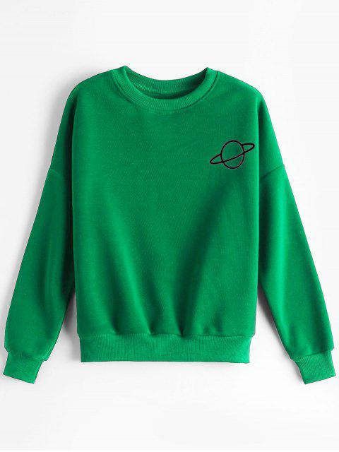 outfits Planet Drop Shoulder Sweatshirt - GREEN ONE SIZE Mobile