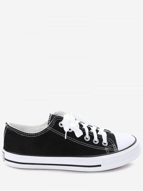 sale Stitching Lace Up Canvas Shoes - BLACK 40 Mobile