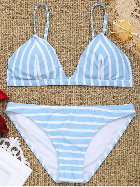 Chevron Striped Padded Cami Bikini Set - Blau & Weiß M Mobile