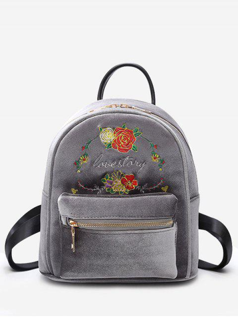 women Florals Embroidery Letter Backpack - GRAY  Mobile