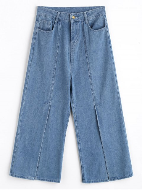 shop High Waisted Front Slit Wide Leg Jeans - DENIM BLUE L Mobile