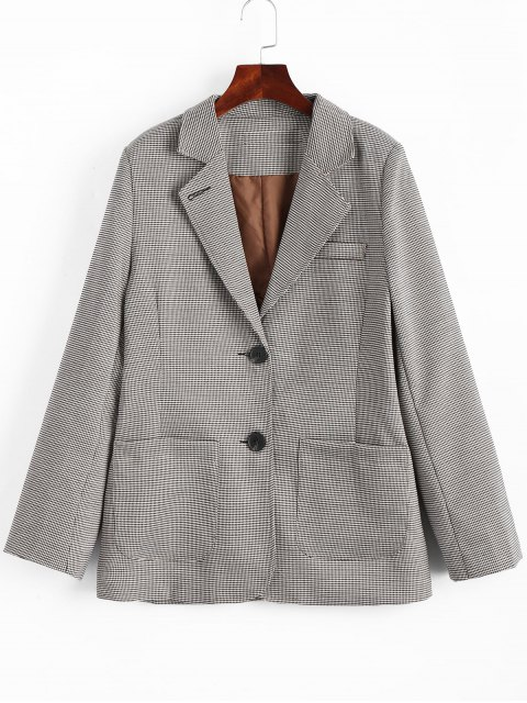 latest Back Slit Houndstooth Blazer - COLORMIX L Mobile