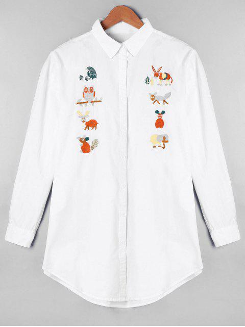 shops Cartoon Embroidered Longline Oversize Shirt - WHITE ONE SIZE Mobile
