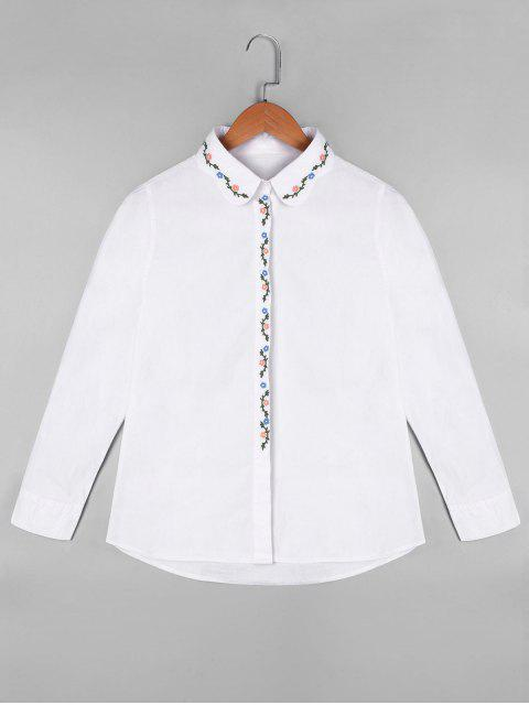 trendy Long Sleeve Floral Embroidered Shirt - WHITE ONE SIZE Mobile