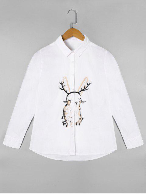 chic Cartoon Embroidered Long Sleeve Shirt - WHITE ONE SIZE Mobile