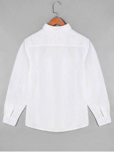unique Cartoon Musical Note Embroidered Shirt with One Pocket - WHITE ONE SIZE Mobile
