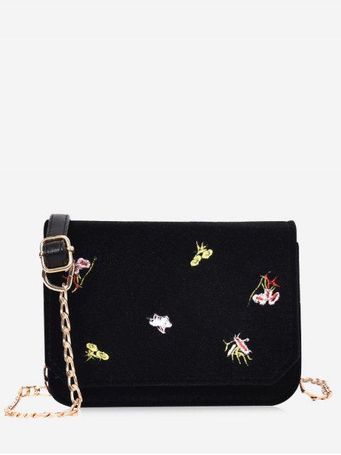 womens Chain Embroidery Flowers Crossbody Bag - BLACK  Mobile