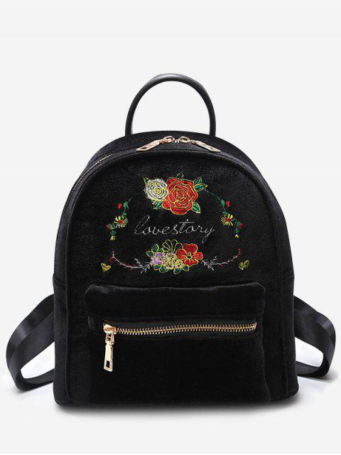 lady Florals Embroidery Letter Backpack - BLACK  Mobile