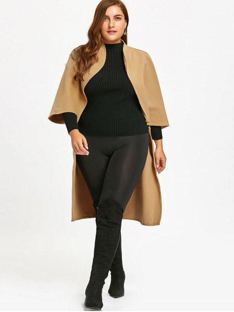 chic Longline Wool Blend Cape - CAMEL 2XL Mobile
