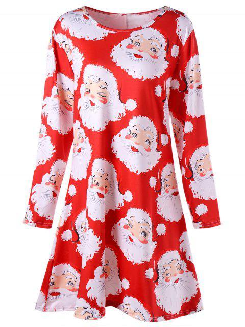 Plus Size Weihnachtsmann Print Mini Swing Kleid - Rot XL Mobile