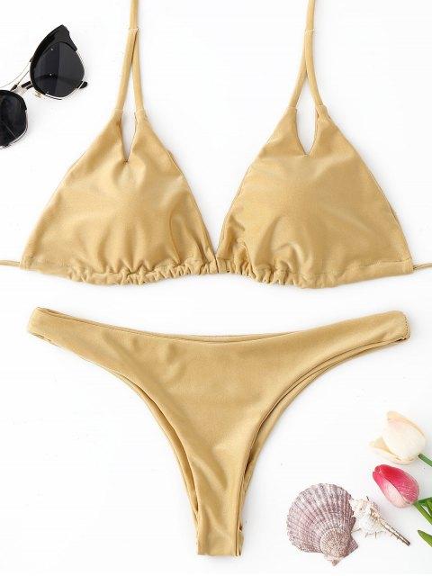 Halter Gepolsterter Tanga Bikini Set - Champagner S Mobile