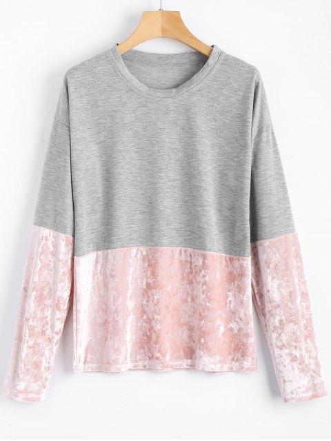 hot Velvet Panel Long Sleeve T-shirt - GRAY S Mobile