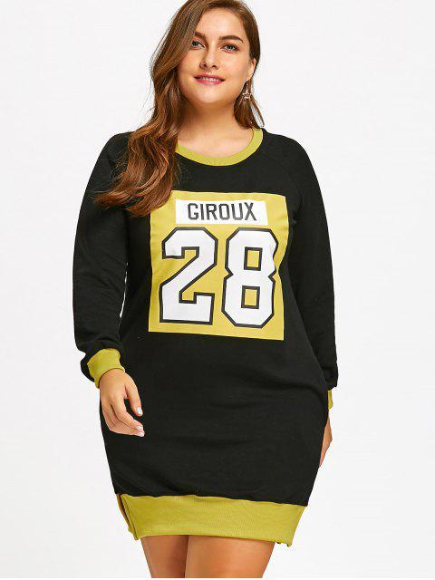 latest Slit Flocking Graphic Plus Size Sweatshirt Dress - YELLOW 3XL Mobile