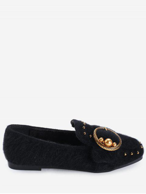 womens Studs Faux Gem Ring Buckled Flat Shoes - BLACK 38 Mobile