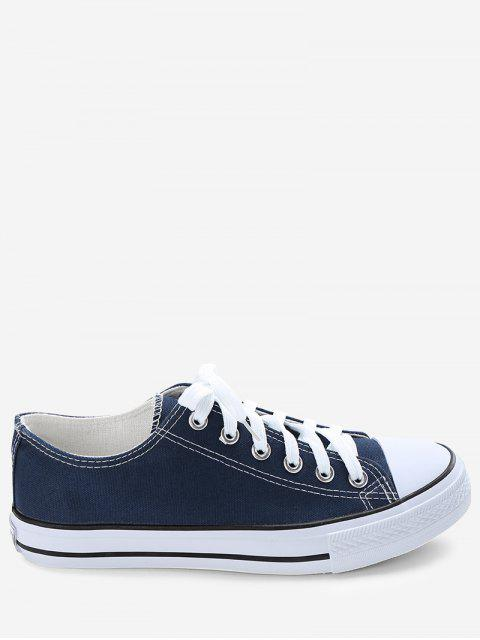Stitching Lace Up Zapatillas de lona - Azul 41 Mobile