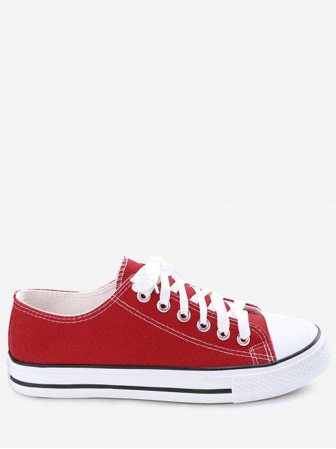 shop Stitching Lace Up Canvas Shoes - RED 42 Mobile