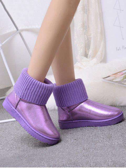 womens Low Heel Metallic Snow Boots - PURPLE 38 Mobile