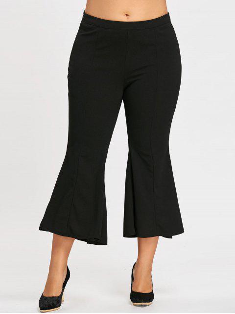 Pantalon Évasé Taille Haute à Fermeture Éclair Grande Taille - Noir 2XL Mobile