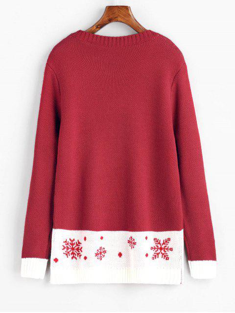 Chandail de Noël à Lettre et Flocon de Neige Contrastant - Rouge M Mobile